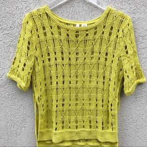 Anthropologie yellow crocheted sweater